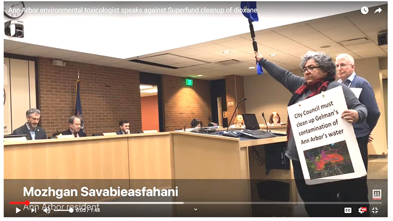 Dr. Mozhgan demands to clean up the expanding dioxane contamination immediately before it poisons Ann Arbor's drinking water